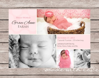 Hello World-A Simple and Stylish Custom Photo Birth Announcement for Baby Girl