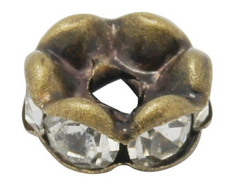6mm Bronze Metal and Clear Rhinestone Crystal Spacer Rondelle Beads . 10 pieces . Scalloped Edge bme0073