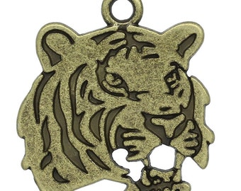 10 Antique Bronze Metal TIGER Charm Pendants. CHB0189