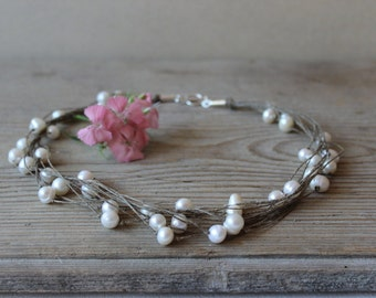 Pearl wedding jewelry / linen thread necklace / rustic silver jewelry / june birthstone