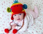 Rainbow Sock Monkey Hat - PDF Crochet Pattern - 7 sizes ( Newborn to Adult ) - Beanie Hat Baby Child Adult Accessorie