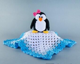 Penguin Lovey / Security Blanket - PDF Crochet Pattern - Instant Download - Blankie Baby Blanket