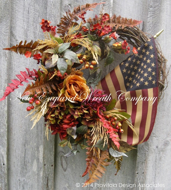 Fall Wreath, Americana Wreath, Autumn, Williamsburg, Thanksgiving, Designer Floral, Patriotic, Tea Stained Flag