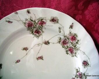 "6 Antique English Transferware 7"" Cake Plates Royal Doulton Red and White China"