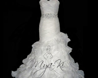 Strapless Organza A Line wedding dress/gown (made to order MKG20)