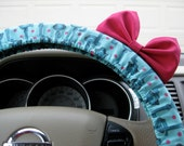 Steering Wheel Cover Bow, Antique Keys Teal Steering Wheel Cover with Hot Pink Bow BF11238