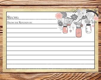 RECIPE CARD, Recipe Card Mason Jars Peach, Gray, Vintage Bridal Shower, Wedding Shower,  Mason Jars, Branches -A25