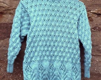 """Hand knitted girl's aqua / turquoise round neck tunic sweater. 26"""" chest."""