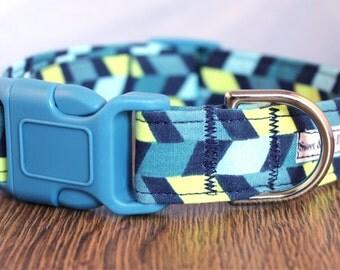 Blue Geometric Dog Collar - Boy Dog Collar - Green Dog Collar - Masculine Dog Collar - Bright Dog Collar