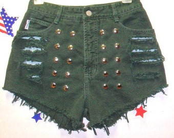 27 inch waist......High Waisted Green  Denim Bongo Shorts - Studded