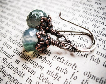 The Greenman Whispers in Your Ear. Moss Agate, copper and sterling silver earrings