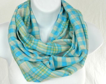Plaid Infinity Scarf Reversible Cotton Plaid Turquoise Blue, Lime Green and Ivory White Check Handmade Loop Scarf by Thimbledoodle