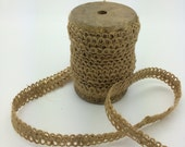 "1/2 inch Jute Lace - natural braided jute on wooden spool - 10 yard 1/2"" wide burlap nanural sewing trim -gimp trim - jute trim - AL1112"