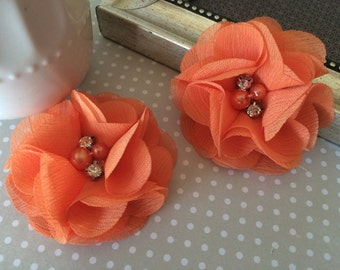 "Chiffon Flowers Orange with rhinestones & pearl centers (4 pcs) Whitney shabby chiffon layered flowers 2.5"" Hair shoe headband"