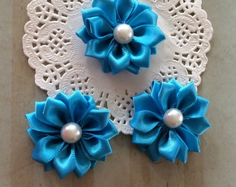 """Small Turquoise Blue Fabric Flowers ( 6 pcs)  - Sweetheart  1.5""""   Satin ribbon flowers with pearl centers embellishment flowers applique"""