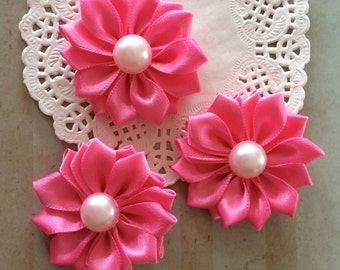 "6 Pink Fabric Flowers 1.5"" Petite Bubble Gum Pink Satin  flowers with pearl centers Sweetheart accent flowers embellishment baby headband"
