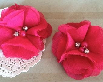 "Chiffon Flowers FUSHIA HOT PINK with rhinestones & pearl centers (4 pcs) Whitney shabby chiffon layered flowers 2.5""  Hair shoe headband"