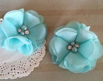 "Chiffon Flowers  Robin's Egg blue with rhinestones & pearl centers (4 pcs) Whitney shabby chiffon layered flowers 2.5""  Hair shoe headband"