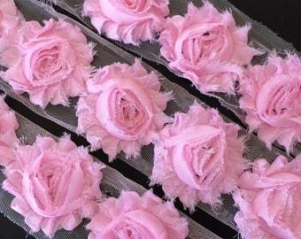 "Light Pink Shabby Rose Trim 2.5"" Shabby Flowers Shabby Chiffon Flowers - Solid Shabby Chic Trim Wholesale Rosette trim 6cm 1 yard #402"