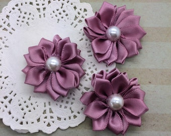 """6 Small Rose Mauve Pink Fabric Flowers -1.5"""" Satin flowers with pearl centers Sweetheart accent flowers embellishment headbands DIY flowers"""