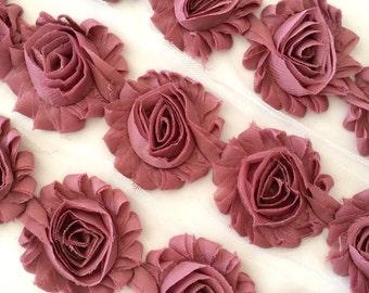 """Dark Mauve Vintage Shabby Rose Trim 2.5"""" Shabby Flowers Shabby Chiffon Flowers Solid Shabby Chic Trim Wholesale Rosette trim 6cm yard  #409"""