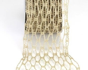 """burlap wire wrapped natural jute netting ribbon trim - 2.5"""" width netting stretches to  7"""" wide - 10 yard roll -  Natural burlap  RSJN62-12"""