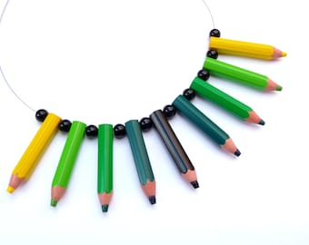 Funny upcycling Necklace - pencilmania - Black, Green & Yellow - Eco friendly necklace made with real color pencils - geeky - geekery - fun