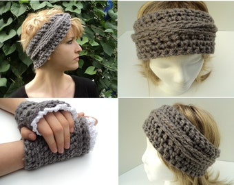 Crochet PATTERN - Bohemian Braids Headband and matching Fingerless Gloves with Lace Edging