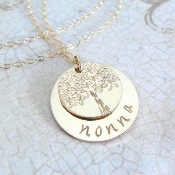 Grandma Necklace | Grandmother Necklace | Nonna Jewelry | Nana Jewelry | Bubbe Jewelry | Nanny Jewelry | Tree of Life | Gold Fill Discs