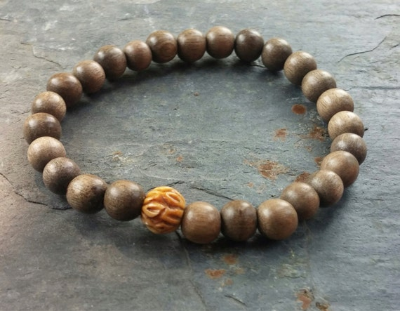 Ty Exotic Wood Mens Bracelet with Bone Accent