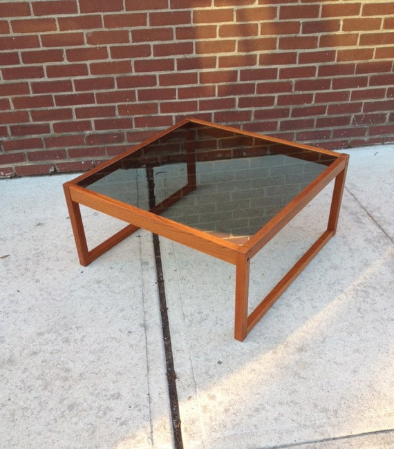 Danish Modern Smoke Glass Coffee Table By Bcdrygoods On Etsy