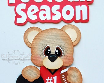 Premade Paper Piecing Title for Scrapbook Page Football Season Bear Handmade 044