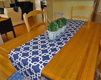 Choose your Table Runner, Chain Link Navy Blue Table Runner