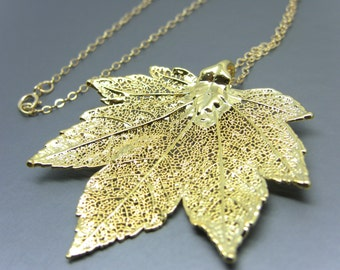 24Kt Gold Plated Full Moon Maple Leaf Necklace
