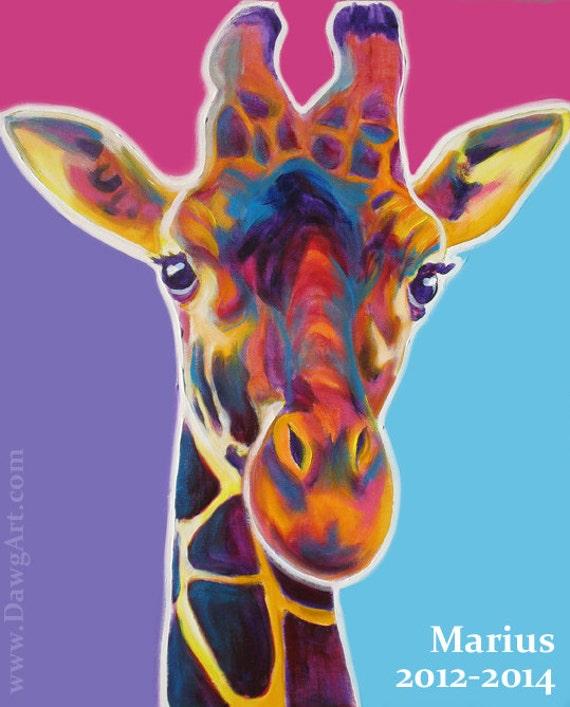Colorful Giraffe Paintings Original Colorful Giraffe Art