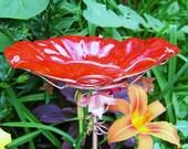 CHRISTMAS Garden, Bird Bath, Stained Glass, RED, Copper, Holiday Decor, Garden Art, Bird Feeder, Garden Art