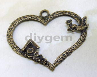 4PCS  Charm Bird Large Heart  Base Pendant Beads Bronze Plated Brass Jewelry Filigree Link Findings Metal Pendant Earwire Beads 40mmx32mm O