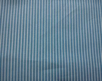 Pastel blue and ivory stripe, fat quarter, pure cotton fabric