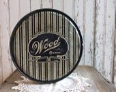 Vintage Candy Tin Blue White Stripes Wood Candies