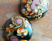 reserved...Glass Lampwork Bead Purple, Amber and Teal Green Swirl Round 22mm-  4