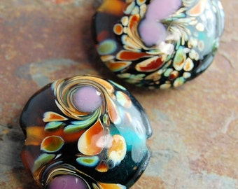 Glass Lampwork Bead Purple, Amber and Teal Green Swirl Round 22mm-  2