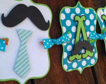 Little Man Name banner OR It's A Boy banner, neck tie banner, mustache banner