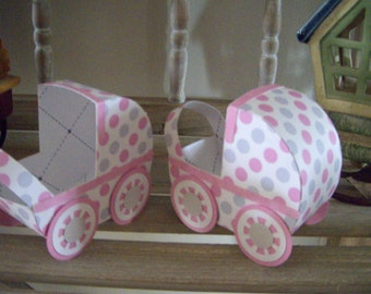 Polka Dotted Baby Carriage Favor Boxes  Set of 12