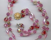 Gorgeous vintage Coro 2-strand necklace and bracelet set - wonderful rose pink and light siam red AB Swarovski crystals