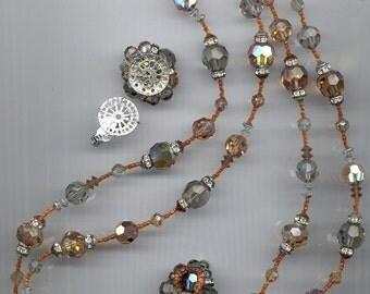 Gorgeous vintage Vendome 2-strand necklace - black diamond and colorado topaz vintage Swarovski crystals