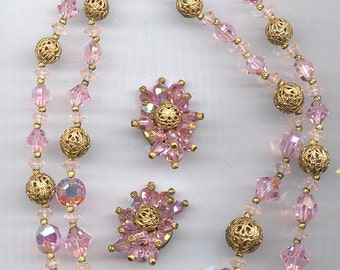 Sparkling 2-strand vintage necklace and earring set - light pink Swarovski crystals and lovely gold tone filigree beads