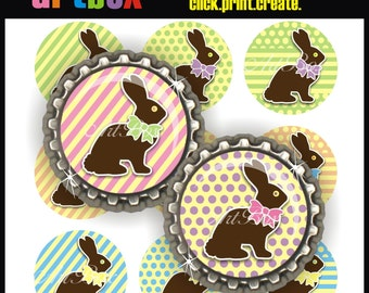 Chocolate Easter Bunnies Bottle Cap Images - 4x6 Digital Collage Sheet - 1 Inch Circles for Pendants, Badge Reels, Buttons, Magnets
