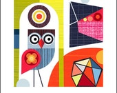 Ellen Giggenbach, paper cut, geo, Owl, print