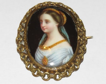 Gorgeous 1850s Victorian Porcelain Portrait Brooch with Elaborate Frame