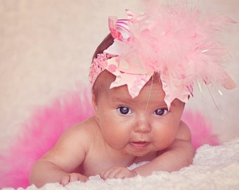 Baby Girl Over The Top Bow set for pictures -- Pretty Princess -- Pink, Hot pink and White bow for newborn photos